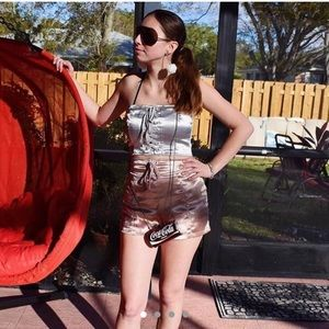 Metallic bandeau top